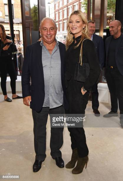 Sir Philip Green and Kate Moss attends Topshop's London Fashion Week show on September 17 2017 in London England