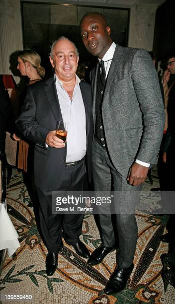 Sir Philip Green and Ozwald Boateng attend a private dinner hosted by editor of British GQ Dylan Jones and Chairman of the BFC Harold Tillman to...