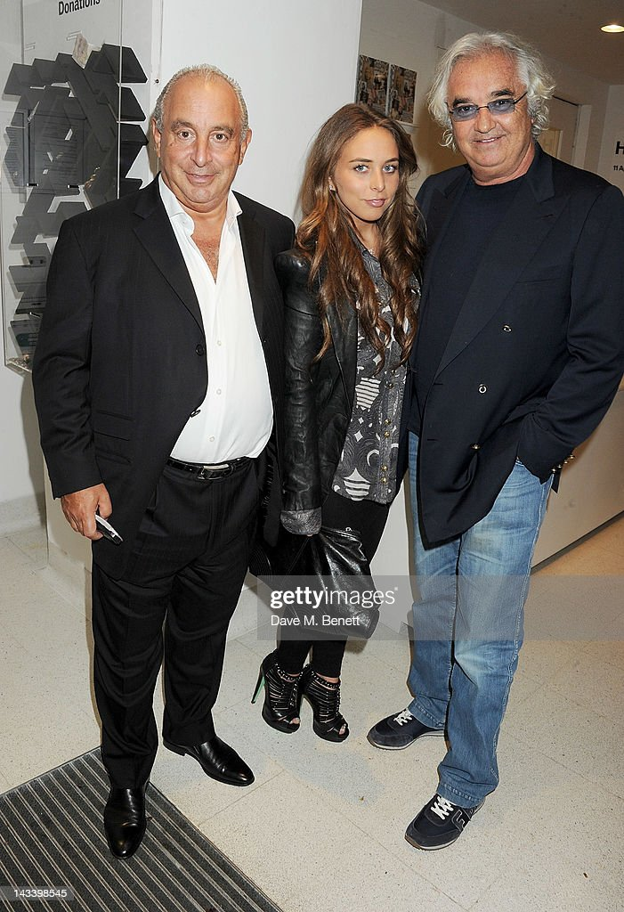 Sir <a gi-track='captionPersonalityLinkClicked' href=/galleries/search?phrase=Philip+Green+-+British+Businessman&family=editorial&specificpeople=220418 ng-click='$event.stopPropagation()'>Philip Green</a>, <a gi-track='captionPersonalityLinkClicked' href=/galleries/search?phrase=Chloe+Green&family=editorial&specificpeople=4271114 ng-click='$event.stopPropagation()'>Chloe Green</a> and <a gi-track='captionPersonalityLinkClicked' href=/galleries/search?phrase=Flavio+Briatore&family=editorial&specificpeople=220211 ng-click='$event.stopPropagation()'>Flavio Briatore</a> attend a party celebrating the launch of 'Sweet Revenge: The Intimate Life of Simon Cowelll' by Tom Bower at The Serpentine Gallery on April 25, 2012 in London, England.