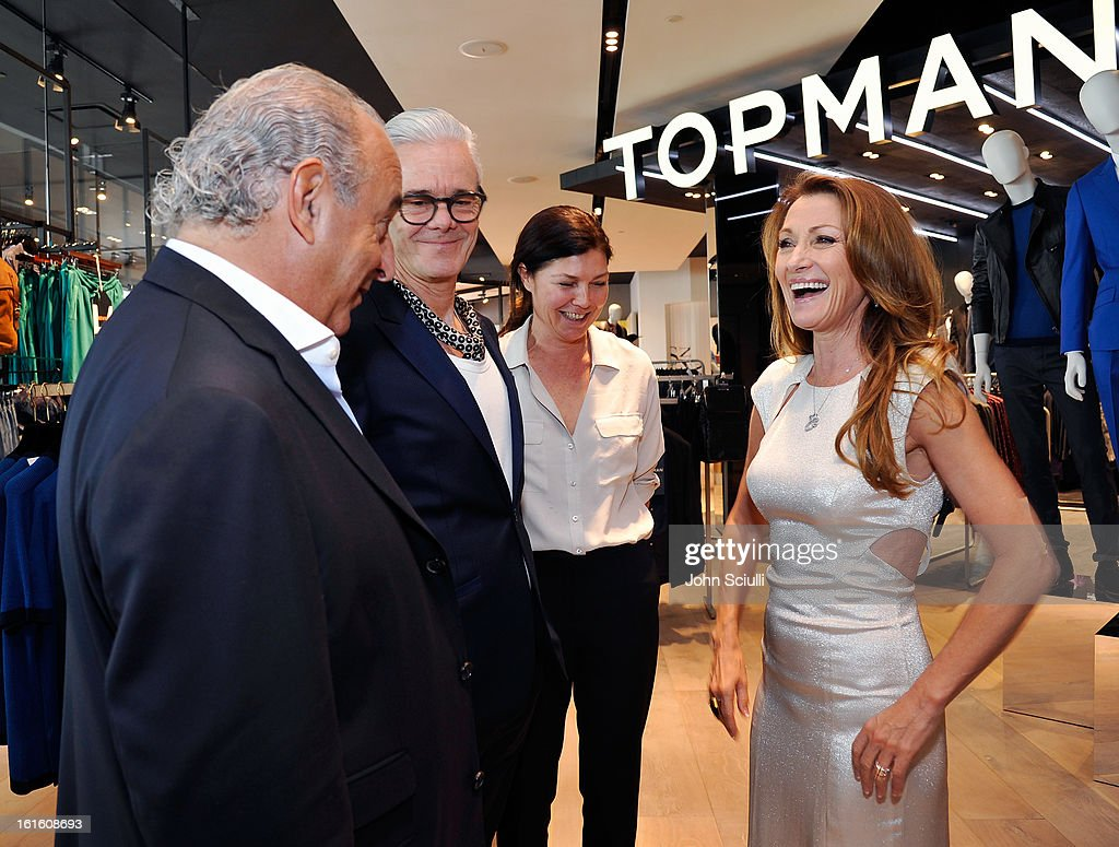 Sir <a gi-track='captionPersonalityLinkClicked' href=/galleries/search?phrase=Philip+Green+-+British+Businessman&family=editorial&specificpeople=220418 ng-click='$event.stopPropagation()'>Philip Green</a>, Gordon Richardson, Creative Director of TOPMAN, Kate Phelan, Creative Director of TOPSHOP and Jane Seymour attend the press day at Topshop Topman at the Grove on February 12, 2013 in Los Angeles, California.