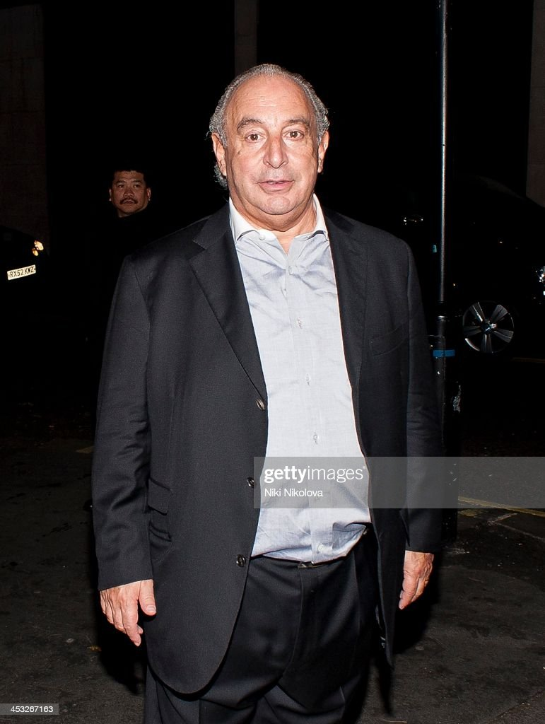 Sir Philip Green is sighted leaving Playboy Club London following the official Playboy 60th Anniversary Issue Party on December 2, 2013 in London, England.