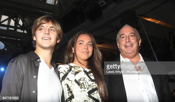 Sir Philip Green with his daughter Chloe and son Brandon backstage during the Topshop Unique show as part of London Fashion Week Topshop Venue Old...