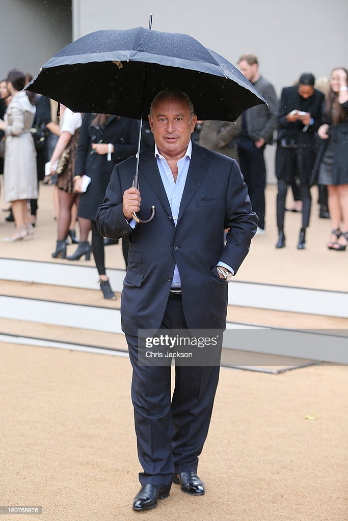 Sir Philip Greene attends the Burberry Prorsum show at London Fashion Week SS14 at Kensington Gardens on September 16, 2013 in London, England.