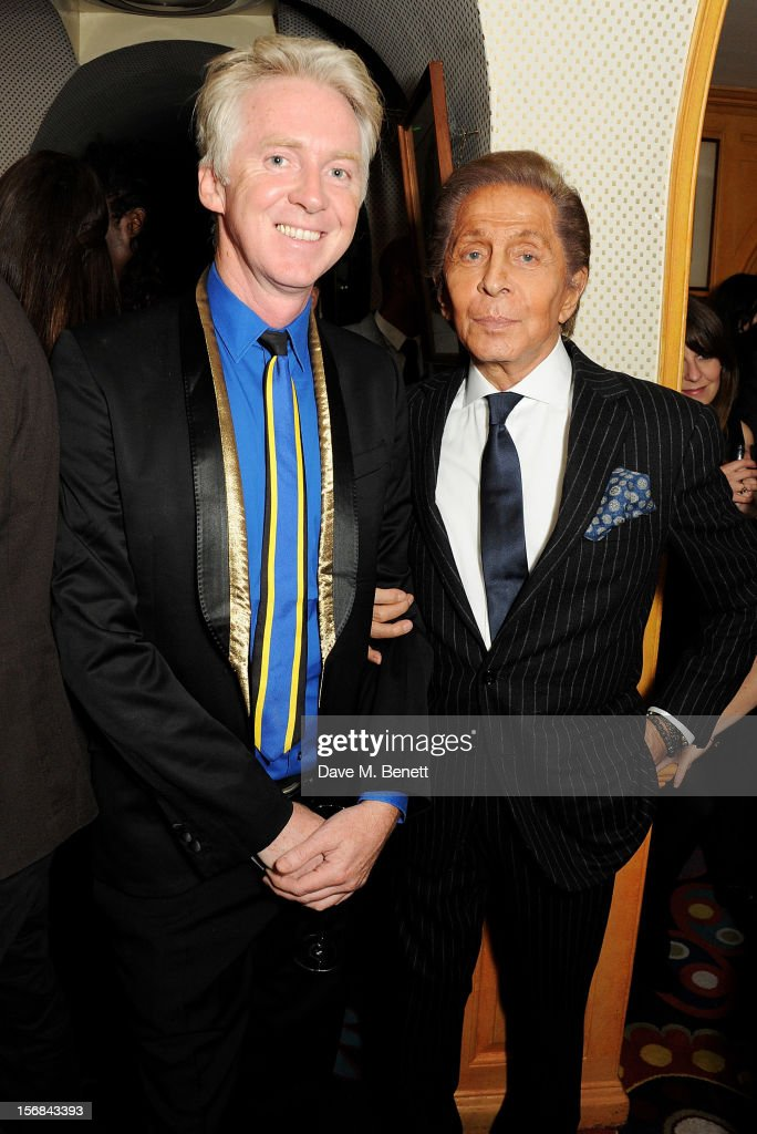 Sir Philip Treacy (L) and Valentino Garavani attend a launch hosted by The Vinyl Factory of Bryan Ferry's new album 'The Jazz Age' at Annabelson November 22, 2012 in London, England.