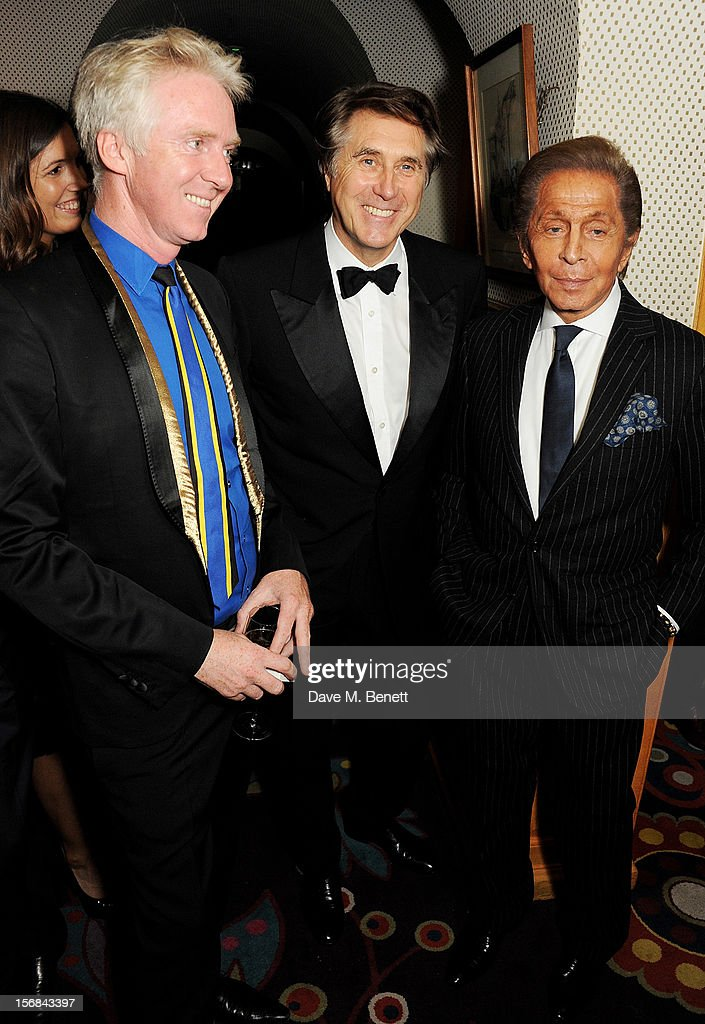 (L to R) Sir Philip Treacy, Bryan Ferry and Valentino Garavani attend a launch hosted by The Vinyl Factory of Bryan Ferry's new album 'The Jazz Age' at Annabelson November 22, 2012 in London, England.