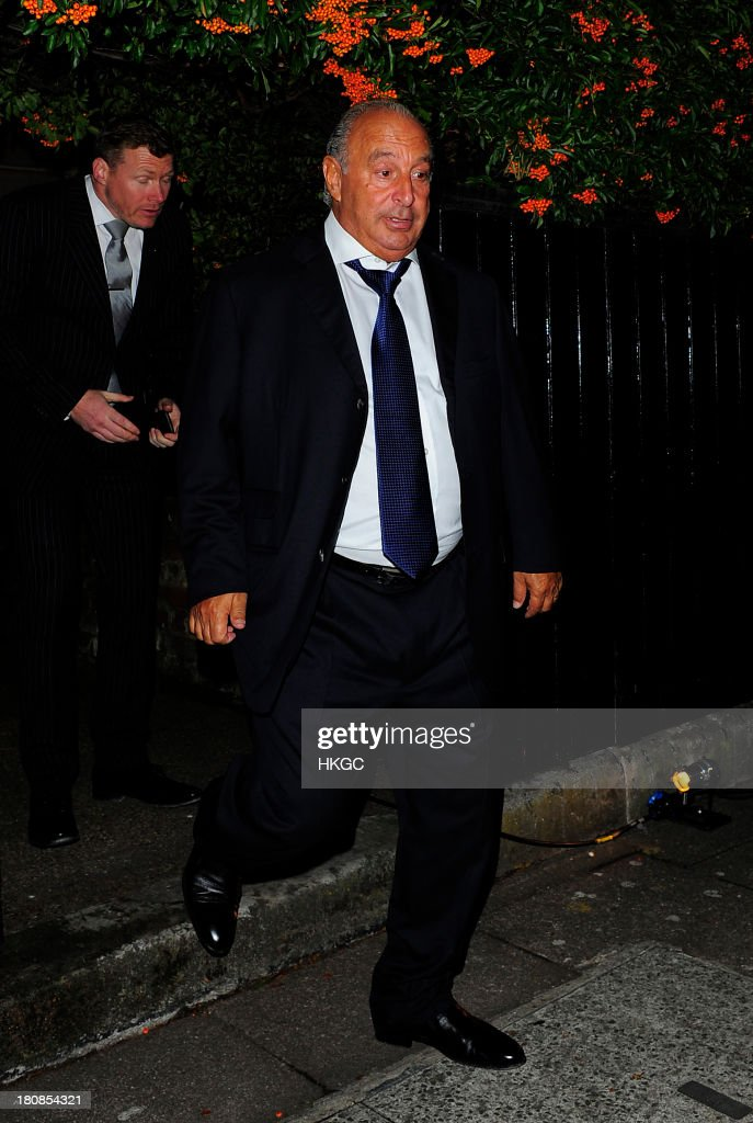 Sir Phillip Green attends an evening to celebrate The Global Fund hosted by the Earl and Countess of Mornington, Anna Wintour, Livia Firth and Natalie Massenet at Apsley House on September 16, 2013 in London, England.