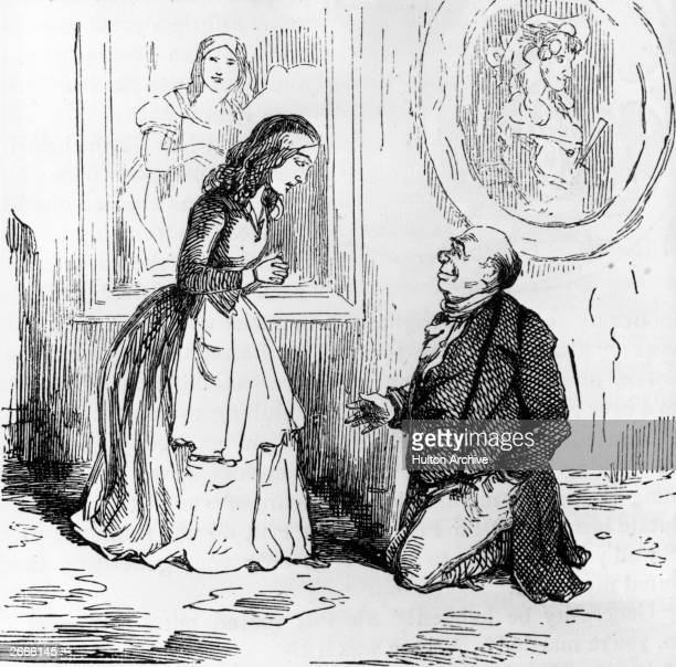 Sir Pitt proposing to Becky Sharp Illustration by William Thackeray to his novel 'Vanity Fair'