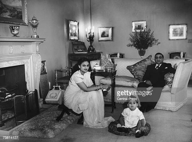 Sir Pratap Sinha Maharaja Gaekwad of Baroda at home with his wife the Maharanee and their son Prince Sayajirao in Epsom Surrey October 1946