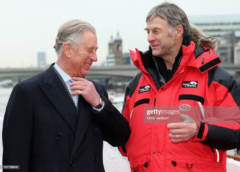Sir <a gi-track='captionPersonalityLinkClicked' href=/galleries/search?phrase=Ranulph+Fiennes&family=editorial&specificpeople=235354 ng-click='$event.stopPropagation()'>Ranulph Fiennes</a> (R) and <a gi-track='captionPersonalityLinkClicked' href=/galleries/search?phrase=Prince+Charles&family=editorial&specificpeople=160180 ng-click='$event.stopPropagation()'>Prince Charles</a>, Prince of Wales share a joke at The Coldest Journey launch on board the SA Agulhas, the ship for Sir <a gi-track='captionPersonalityLinkClicked' href=/galleries/search?phrase=Ranulph+Fiennes&family=editorial&specificpeople=235354 ng-click='$event.stopPropagation()'>Ranulph Fiennes</a>' polar expedition to be the first to cross Antarctica in winter on December 6, 2012 in London, England. The boat departs London at 15.15 today headed for South Africa, and then Antarctica. The expedition is raising funds for Seeing is Believing, the global charitable campaign tackling preventable and treatable blindness.