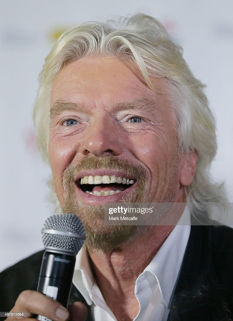 Sir <a gi-track='captionPersonalityLinkClicked' href=/galleries/search?phrase=Richard+Branson&family=editorial&specificpeople=220198 ng-click='$event.stopPropagation()'>Richard Branson</a> addresses the media on September 9, 2015 in Sydney, Australia. Sir Branson is calling on Australians to reach out for R U OK day on September 10.