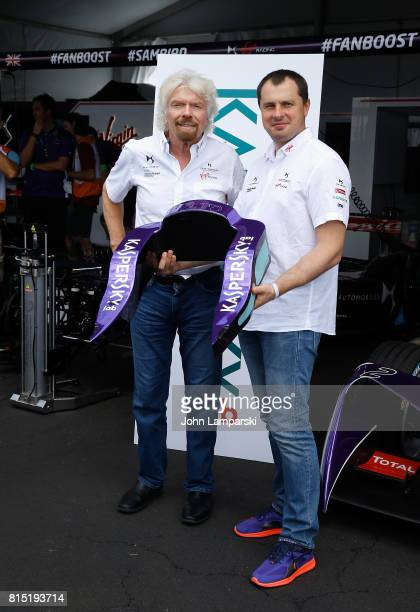 Sir Richard Branson and Alexander Moiseev of Kaspersky lab are seen in the pits during the Formula E Qualcomm New York City ePrix on July 15 2017 in...