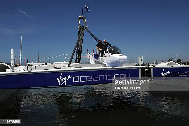 Sir Richard Branson and explorer Chris Welsh attend a press conference in Newport Beach California on April 5 2011 to announce plans to take a solo...
