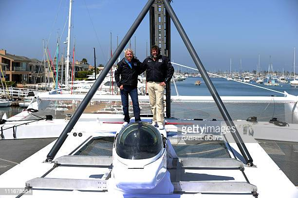Sir Richard Branson and explorer Chris Welsh attends a press conference in Newport Beach California on April 5 2011 to announce plans to take a solo...