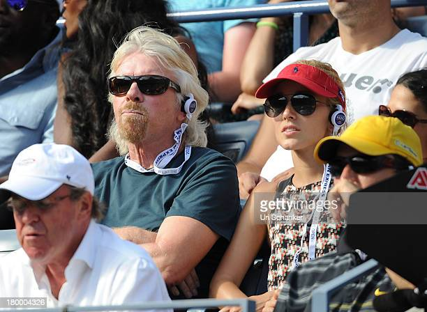 Sir Richard Branson and Jelena Ristic attend the 2013 US Open at USTA Billie Jean King National Tennis Center on September 7 2013 in New York City