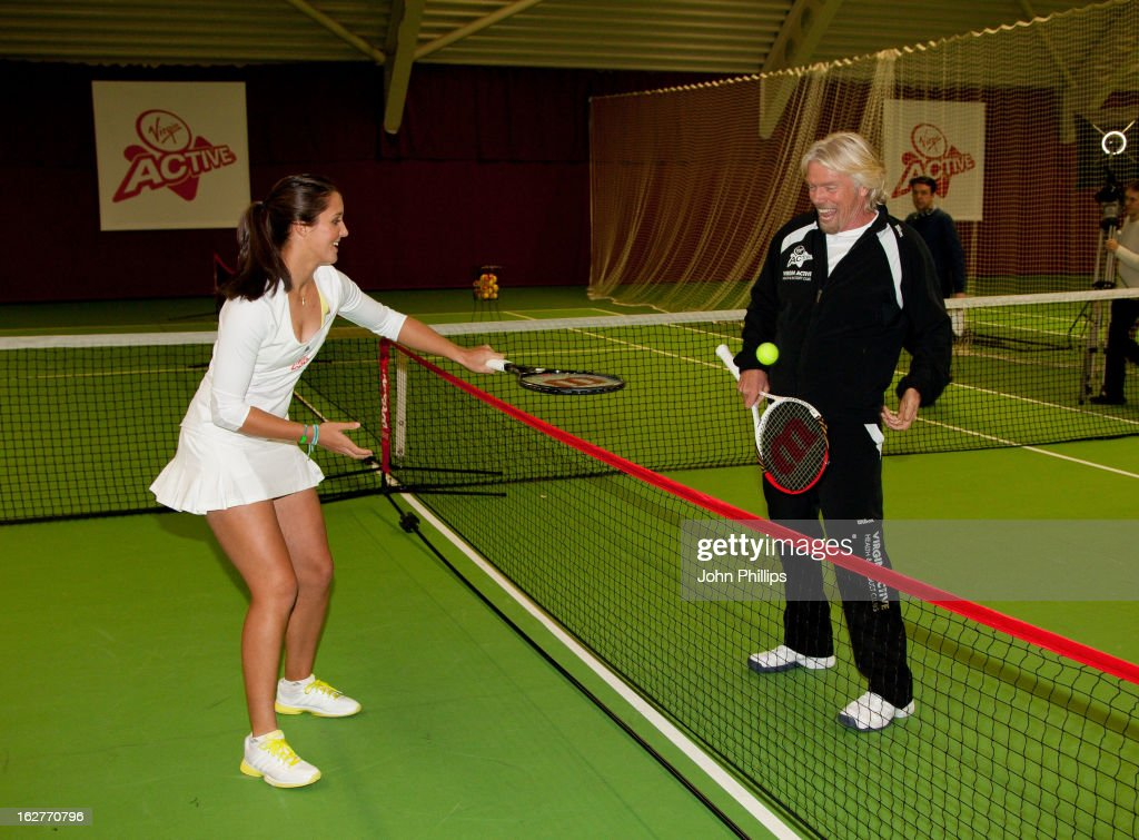 Sir Richard Branson and Laura Robson attends a photocall as Laura Robson is announced as the face of Virgin Active on February 26, 2013 in Chiswick, England.