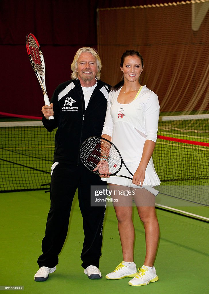 Sir <a gi-track='captionPersonalityLinkClicked' href=/galleries/search?phrase=Richard+Branson&family=editorial&specificpeople=220198 ng-click='$event.stopPropagation()'>Richard Branson</a> and <a gi-track='captionPersonalityLinkClicked' href=/galleries/search?phrase=Laura+Robson&family=editorial&specificpeople=5421044 ng-click='$event.stopPropagation()'>Laura Robson</a> attends a photocall as <a gi-track='captionPersonalityLinkClicked' href=/galleries/search?phrase=Laura+Robson&family=editorial&specificpeople=5421044 ng-click='$event.stopPropagation()'>Laura Robson</a> is announced as the face of Virgin Active on February 26, 2013 in Chiswick, England.