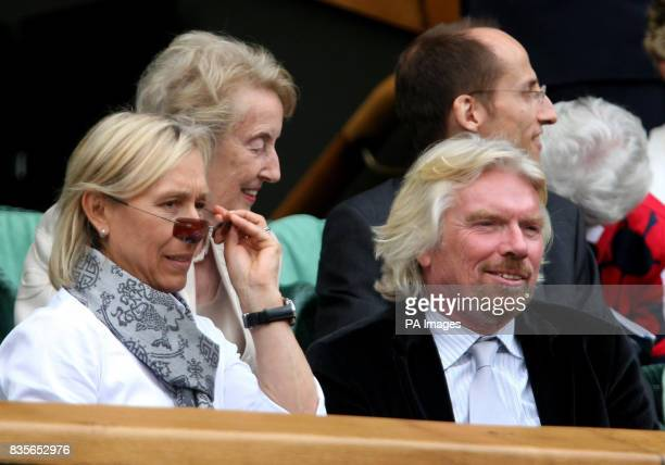 Sir Richard Branson and Martina Navratilova watch the Ladies final between Venus and Serena Williams during the 2009 Wimbledon Championships at the...