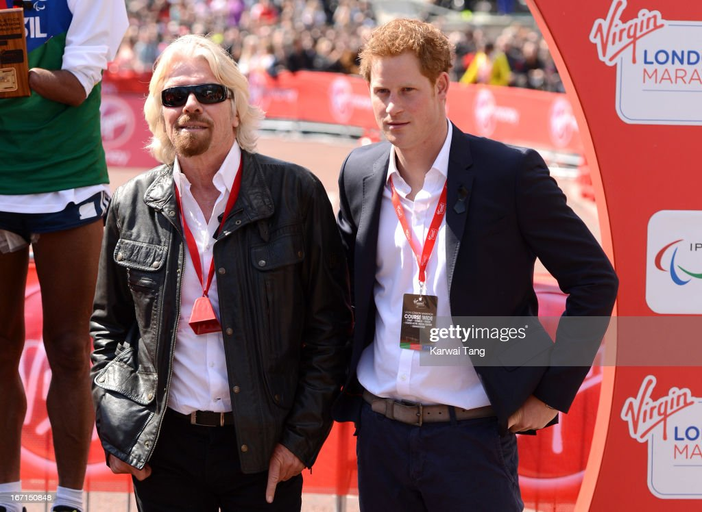 Sir <a gi-track='captionPersonalityLinkClicked' href=/galleries/search?phrase=Richard+Branson&family=editorial&specificpeople=220198 ng-click='$event.stopPropagation()'>Richard Branson</a> and <a gi-track='captionPersonalityLinkClicked' href=/galleries/search?phrase=Prince+Harry&family=editorial&specificpeople=178173 ng-click='$event.stopPropagation()'>Prince Harry</a> attends the medal ceremony at the Virgin London Marathon on April 21, 2013 in London, England.