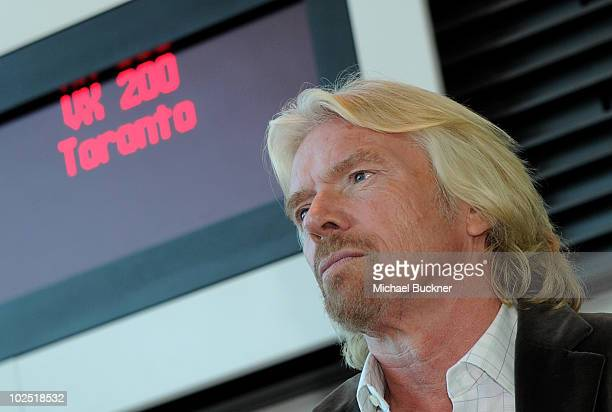 Sir Richard Branson arrives on Virgin America's first international flight to Toronto at San Francisco International Airport June 29 2010 in San...