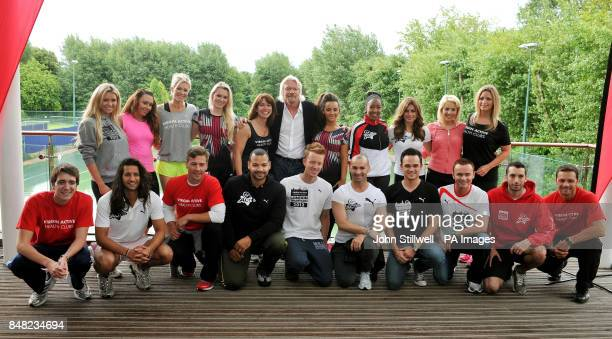 Sir Richard Branson at the Virgin Active health club in Chiswick south west London with Nicola McLean Michelle Heaton Nell McAndrew Amy Guy Kay...