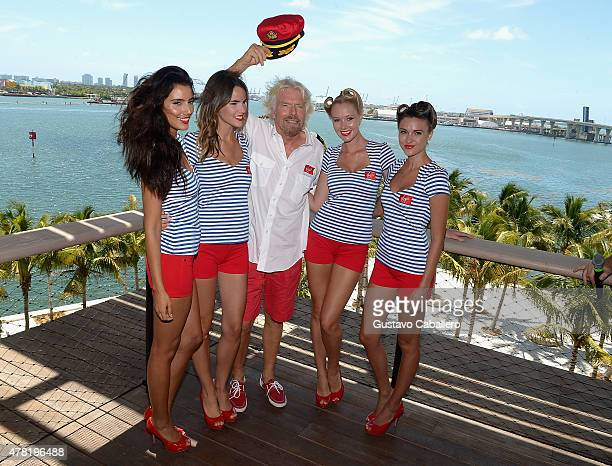 Sir Richard Branson attends a photocall for the announcement that the home port of Virgin Cruises will be in Miami at Perez Art Museum Miami on June...