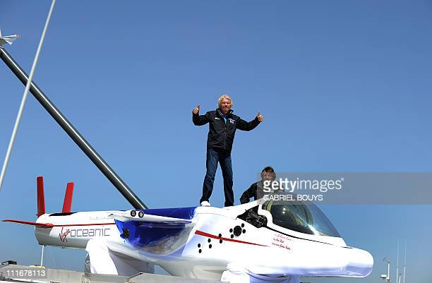 Sir Richard Branson attends a press conference in Newport Beach California on April 5 2011 to announce plans to take a solo piloted submarine to the...