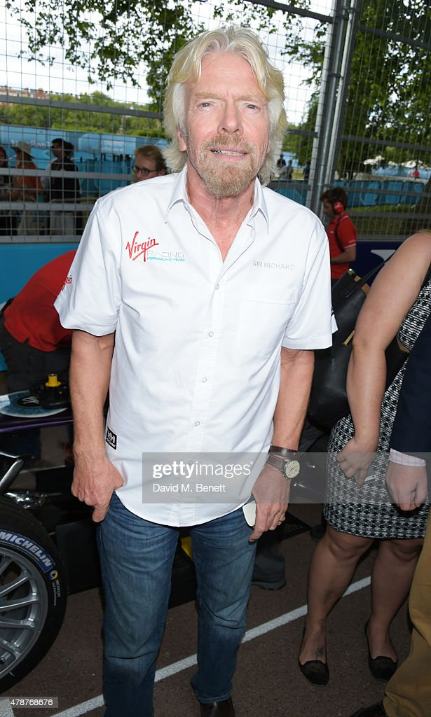 Sir <a gi-track='captionPersonalityLinkClicked' href=/galleries/search?phrase=Richard+Branson&family=editorial&specificpeople=220198 ng-click='$event.stopPropagation()'>Richard Branson</a> attends Day One at the 2015 FIA Formula E Visa London ePrix at Battersea Park on June 27, 2015 in London, England.