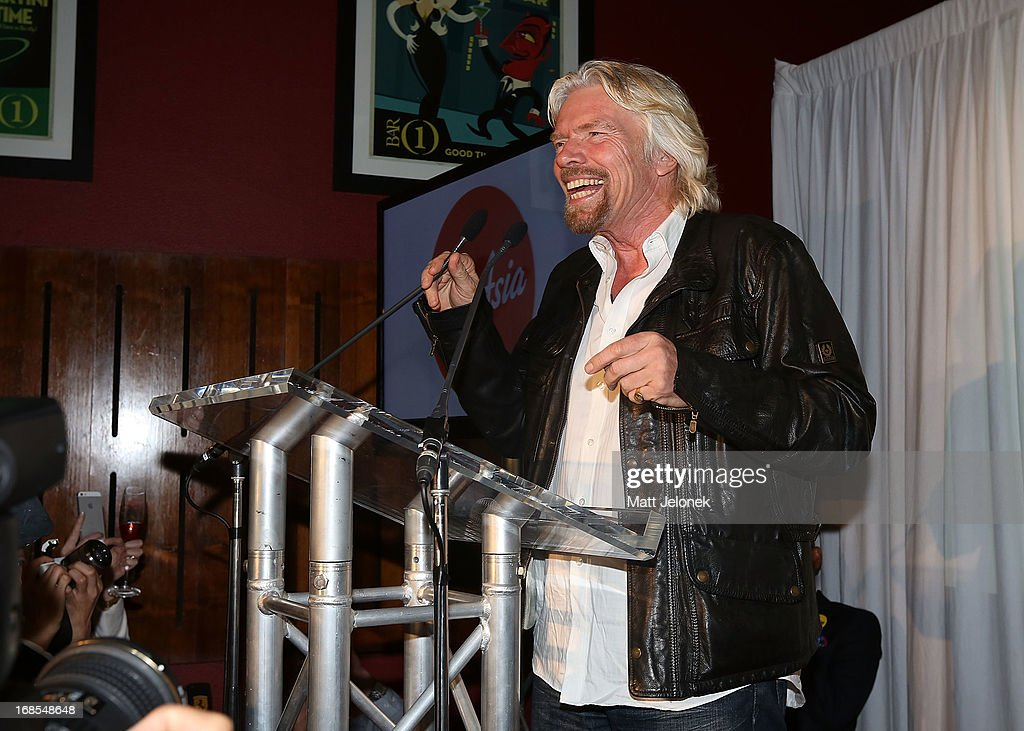 Sir <a gi-track='captionPersonalityLinkClicked' href=/galleries/search?phrase=Richard+Branson&family=editorial&specificpeople=220198 ng-click='$event.stopPropagation()'>Richard Branson</a> attends the AirAsia Cocktail Party at the QV1 Building on May 11, 2013 in Perth, Australia. Branson will be shaving his legs, wearing make-up and be dressed in stewardess clothing tomorrow after losing a bet with AirAsia CEO, Tony Fernandes over which of their 2010 Formula One teams would be beat the other at the Grand Prix in Abu Dhabi.