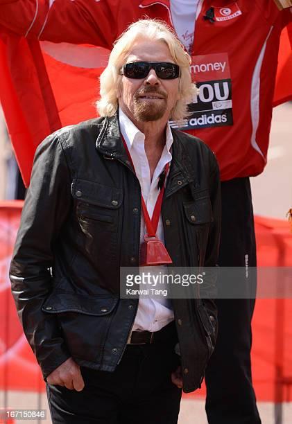 Sir Richard Branson attends the Virgin London Marathon on April 21 2013 in London England
