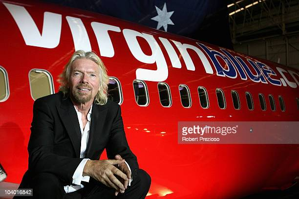 Sir Richard Branson celebrates Virgin Blue's 10th Anniversary in Australia at Melbourne Airport on September 12 2010 in Melbourne Australia