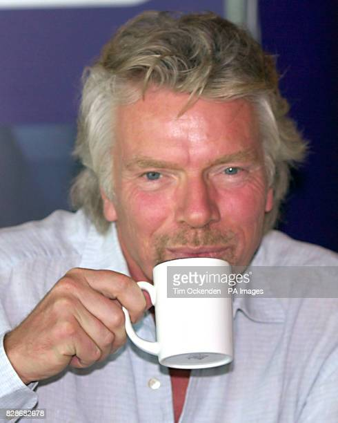 Sir Richard Branson during a news conference at Gatwick Airport Virgin Atlantic announced that it expected to make a 10 million profit this financial...