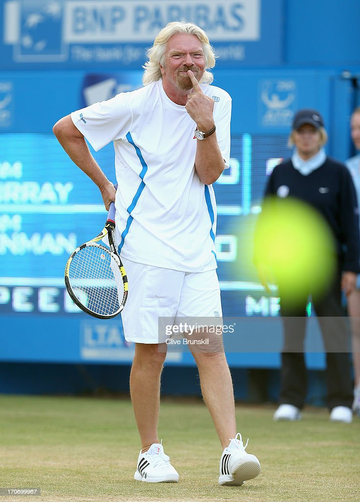 Sir <a gi-track='captionPersonalityLinkClicked' href=/galleries/search?phrase=Richard+Branson&family=editorial&specificpeople=220198 ng-click='$event.stopPropagation()'>Richard Branson</a> in action during the Rally Against Cancer charity match on day seven of the AEGON Championships at Queens Club on June 16, 2013 in London, England.