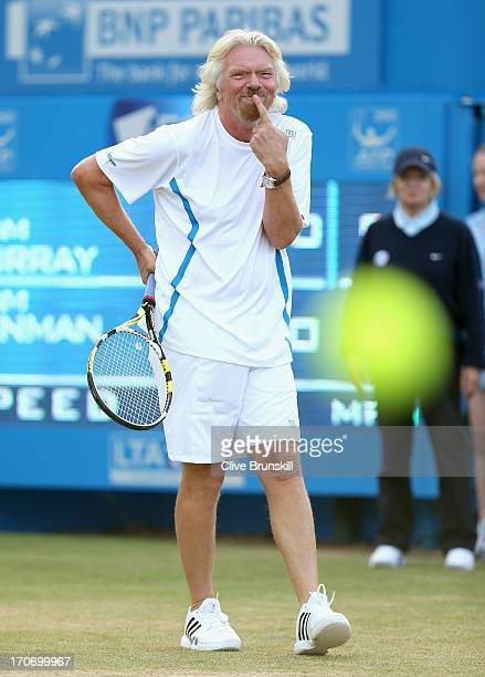 Sir Richard Branson in action during the Rally Against Cancer charity match on day seven of the AEGON Championships at Queens Club on June 16 2013 in...