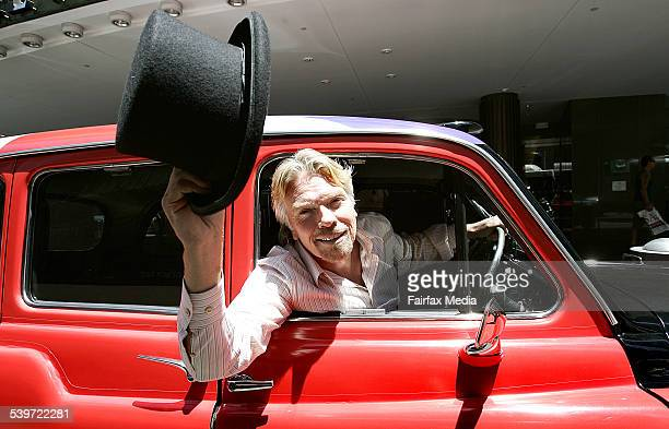 Sir Richard Branson in his Virgin Atlantic London Cab outside the Wentworth Hotel 8 December 2005 AFR Picture by ROB HOMER
