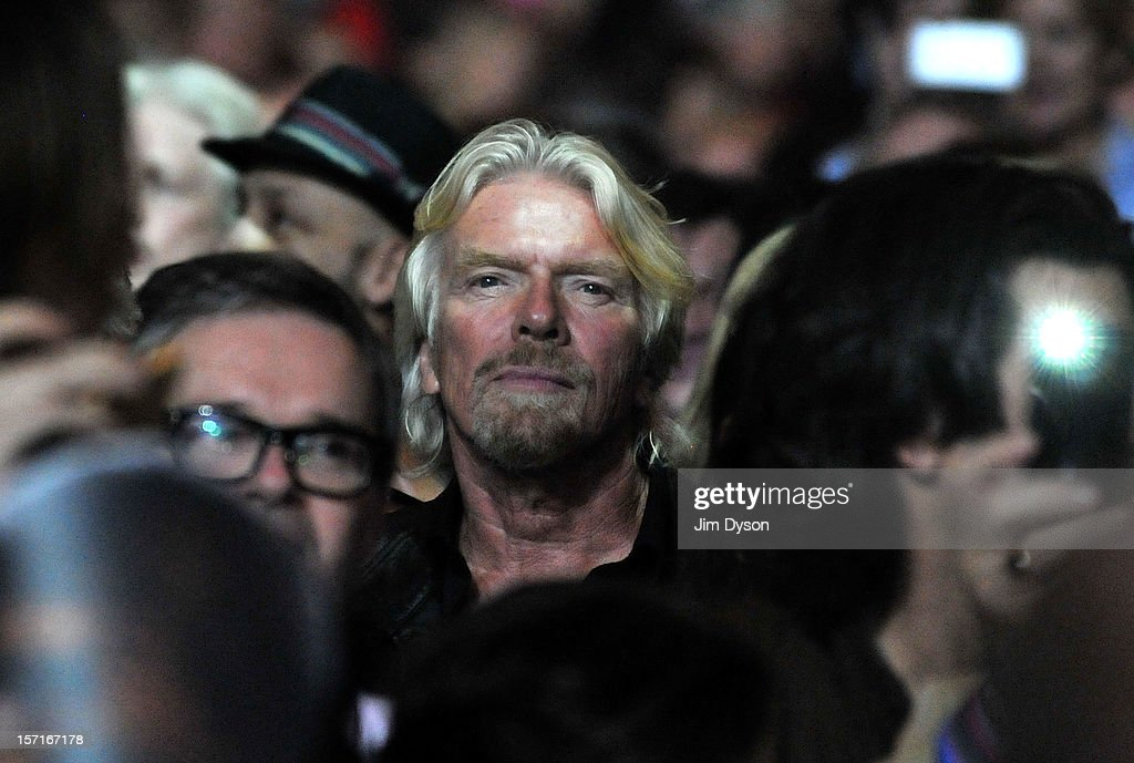 Sir <a gi-track='captionPersonalityLinkClicked' href=/galleries/search?phrase=Richard+Branson&family=editorial&specificpeople=220198 ng-click='$event.stopPropagation()'>Richard Branson</a> is seen watching the Rolling Stones perform live on stage, during their 50th anniversary tour at O2 Arena on November 29, 2012 in London, England.