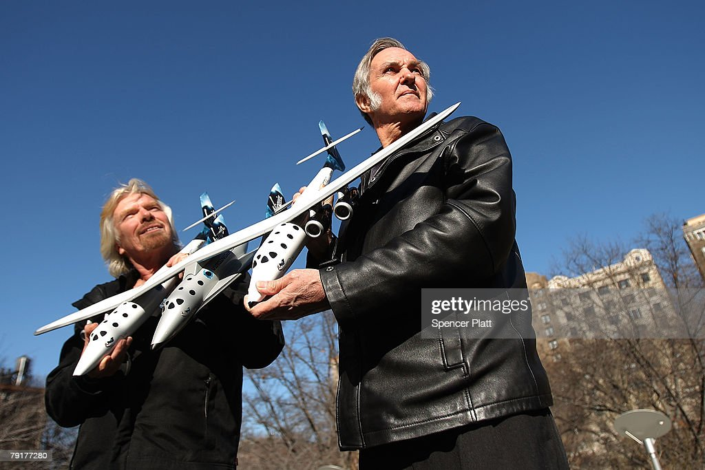 Sir Richard Branson of Virgin Atlantic (L) and designer Burt Rutan hold up a model of a spaceship unveiled at a news conference January 23, 2008 in New York City. Branson hopes the spaceship will be the first to ferry paying passengers into space on a regular schedule. Branson's Virgin Galactic is one of several commercial enterprises currently competing to offer flights to space. Looking to commence the program latter this year, about 200 people have already signed up for the rides, which cost about $200,000 per person.