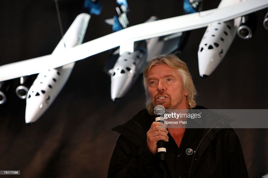 Sir Richard Branson of Virgin Atlantic speaks during the unveiling a model of a spaceship at a news conference January 23, 2008 in New York City. Branson hopes the spaceship will be the first to ferry paying passengers into space on a regular schedule. Branson's Virgin Galactic is one of several commercial enterprises currently competing to offer flights to space. Looking to commence the program latter this year, about 200 people have already signed up for the rides, which cost about $200,000 per person.