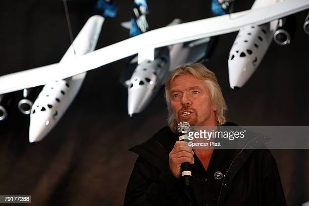 Sir Richard Branson of Virgin Atlantic speaks during the unveiling a model of a spaceship at a news conference January 23 2008 in New York City...