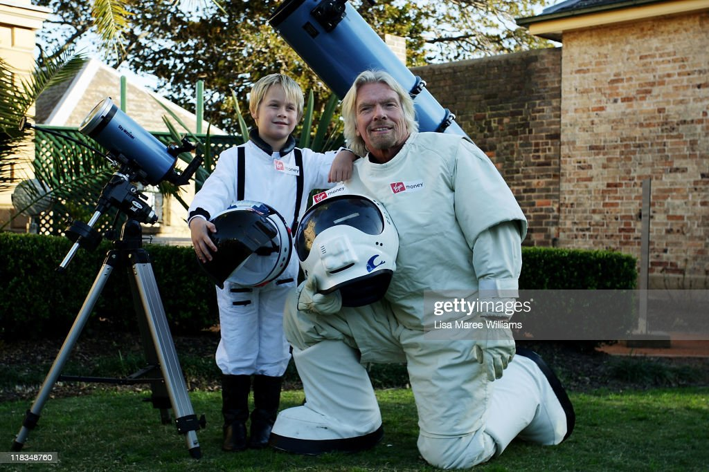 Sir <a gi-track='captionPersonalityLinkClicked' href=/galleries/search?phrase=Richard+Branson&family=editorial&specificpeople=220198 ng-click='$event.stopPropagation()'>Richard Branson</a> poses alongside Charlie Graham to celebrate Virgin Money's Birthday in Australia on July 7, 2011 in Sydney, Australia. Branson announced a competition that would offer the winner a trip into space on the Virgin Galactic.