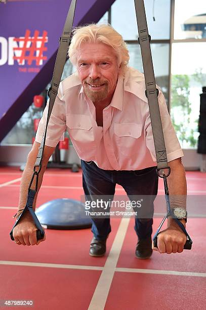 Sir Richard Branson poses at Emquartier Shopping Complex on September 13 2015 in Bangkok Thailand Branson is visiting Thailand for the first time to...
