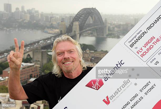 Sir Richard Branson poses during the official launch of Virgin Atlantic's round the world airfares at the Four Seasons Hotel on February 25 2009 in...
