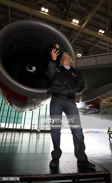 Sir Richard Branson President of Virgin Atlantic launches the first biofuel flight by an airline at the Virgin Hanger at Heathrow Airport
