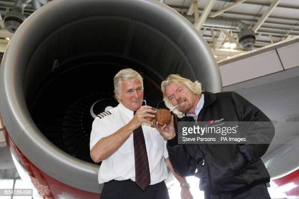 Sir Richard Branson President of Virgin Atlantic with Captain Geoff Andreasen Virgin Atlantic's Chief Boeing Pilot launches the first Biofuel flight...