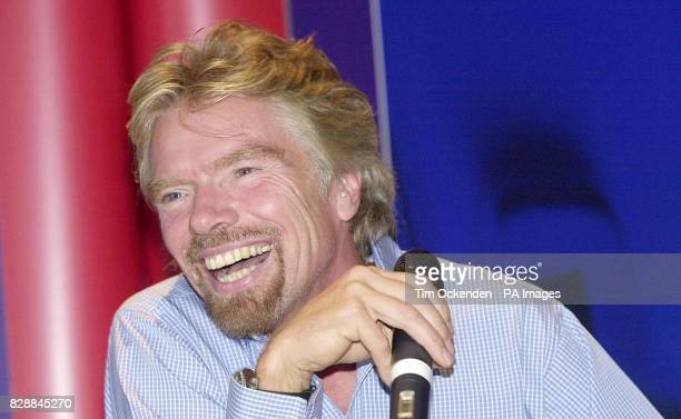 Sir Richard Branson talks during a press conference at Heathrow Airport London where he stoked up his rivalry with British Airways claiming his...