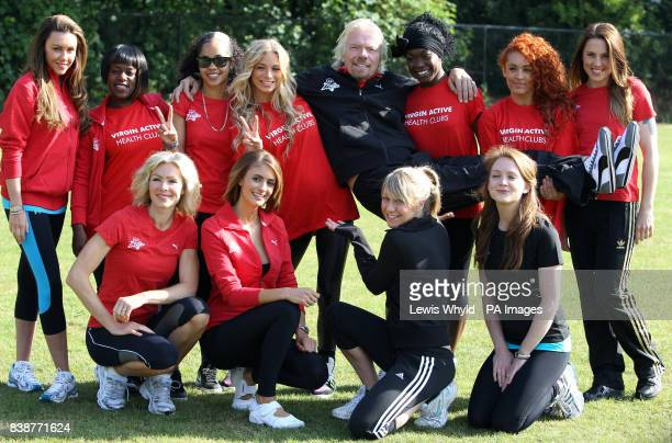 Sir Richard Branson with his celebrity team including Nell McAndrew Melanie C Liz Locke Chloe Madeley and Michelle Heaton launch the Virgin Active...