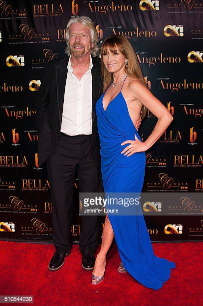Sir Richard Charles Nicholas Branson and Jane Seymour arrives at the 2016 City Gala Fundraiser at The Playboy Mansion on February 15 2016 in Los...