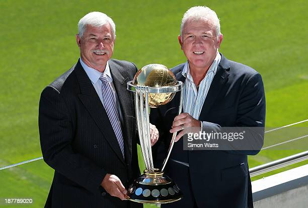 Sir Richard Hadlee and Craig McDermott pose for a photo with the ICC Cricket World Cup trophy during the ICC Cricket World Cup 2015 Ticket pricing...