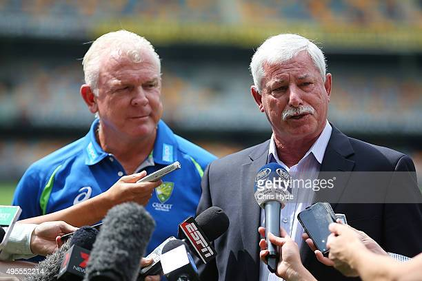 Sir Richard Hadlee and Craig McDermott speak to media during a press conference before the Australia nets session at The Gabba on November 4 2015 in...