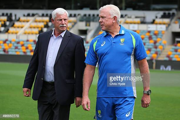 Sir Richard Hadlee and Craig McDermott talk during a press conference before the Australia nets session at The Gabba on November 4 2015 in Brisbane...