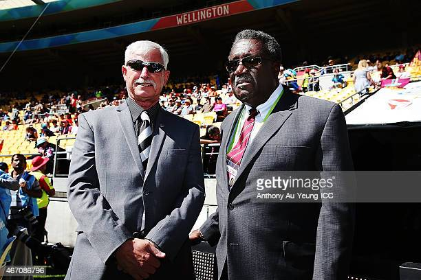 Sir Richard Hadlee and Sir Clive Lloyd during the 2015 ICC Cricket World Cup match between New Zealand and the West Indies at Wellington Regional...